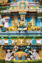 Sculptures on Hindu temple gopura (tower) Royalty Free Stock Images