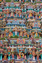 Sculptures on Hindu temple tower Royalty Free Stock Photos