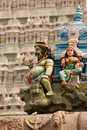 Sculptures on Hindu temple tower Royalty Free Stock Images