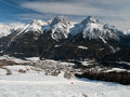 Scuol in winter time switzerland Stock Image