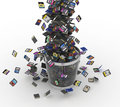 Sd and microsd memory cards flow on trashcan many of different dropped to data loss concept Royalty Free Stock Image