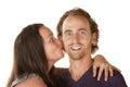 Señora Kisses Excited Man Fotografía de archivo libre de regalías