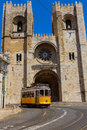 Se cathedral lisbon portugal with yellow tram Stock Photo