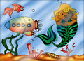 Sea ​​bed color illustration of a cute seabed Stock Photo