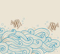 Sea ​​background with fishes vector vintage and waves Royalty Free Stock Image