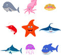 Sea animal cartoon set Royalty Free Stock Photo