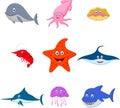 Sea animal cartoon set Royalty Free Stock Photo