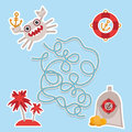 Sea animals, boats pirates. cute sea objects collection labyrinth game for Preschool Children. Vector Royalty Free Stock Photo
