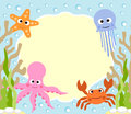 Sea animals cartoon background card Stock Photography