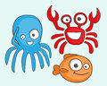 Sea animals cartoon octopus fish and crab Royalty Free Stock Photo