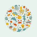 Sea animals circle