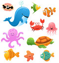 Sea animals collection of cute little cartoon Stock Image