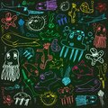 Sea animals creatures child scribbles background on the blackboard illustration Stock Image