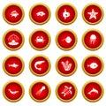 Sea animals icon red circle set