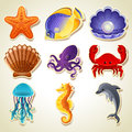 Sea animals icons Royalty Free Stock Photos