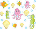 Sea animals pattern Royalty Free Stock Image