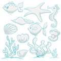 Sea animals and plants illustration of various on a white background Royalty Free Stock Photo