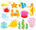 Sea animals set of cartoony corals and algae vector clip arts on a white background Royalty Free Stock Photo