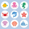 Sea animals set vector of cute cartoon Stock Images