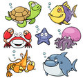 Sea animals vector illustration of collection Stock Photo