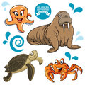 Sea animals vector set of Royalty Free Stock Images