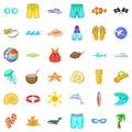 Sea aqua icons set, cartoon style Royalty Free Stock Photo