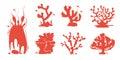 Sea aquarium coral silhouettes vector set