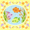 Sea background with fish card Stock Photo