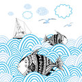 Sea background with fishes graphic card marine fish and boat on the waves Stock Photos