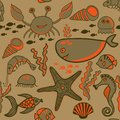 Sea background, marine vector seamless pattern with fish, crab,s
