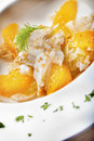 Sea bass orange salad crispy fennel sesame seeds Stock Photos
