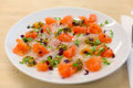 Sea bass and pink grapefruit ceviche Royalty Free Stock Photo