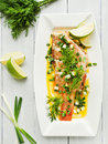 Sea bass steamed with fennel and leek in olive and linseed oil viewed from above Royalty Free Stock Photography