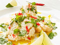 Sea bass steamed fillet with chili pepper and cilantro in olive and linseed oil shallow dof Royalty Free Stock Photo