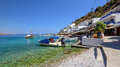 Sea bay with clear water at Loutro town on Crete island Royalty Free Stock Photo