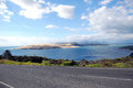 Sea bay view from asphalt road Royalty Free Stock Photo