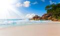 Sea beach blue sky sand sun daylight relaxation landscape viewpoint design postcard seychelles