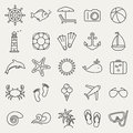 Sea and beach line icons. Vector set. Royalty Free Stock Photo