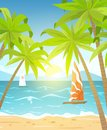 Sea beach and sun loungers. Seascape, vacation banner with sailing ships, palms and clouds. Cartoon vector illustration