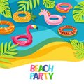 Sea beach or swimming pool with float rings flamingo, unicorn, watermelon. Vector hand drawn doodle illustration. Royalty Free Stock Photo