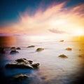 Sea beautiful sunrise long exposure shot Royalty Free Stock Photos