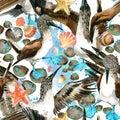 Sea bird and boast seamless pattern. watercolor seashore background.