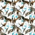 Sea bird seamless pattern. watercolor seashore background.