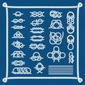 Sea boat knots vector set.