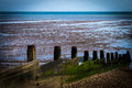 Sea breakers the at whitstable beach in kent uk Stock Image