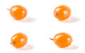 Sea buckthorn. Fresh ripe berry isolated on white background macro. Set or collection