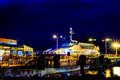 Sea bus anchored on the port of istanbul transportation company in a dark and windy night turkish transportation Royalty Free Stock Images