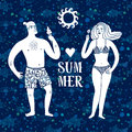 Sea cartoon illustration with man and woman on vacation Royalty Free Stock Photo