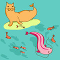 Sea cat and big pink fish illustration with Royalty Free Stock Images