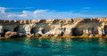 Sea caves at Cape Greco, Cyprus Royalty Free Stock Photo